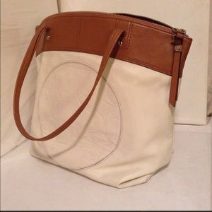 Genuine cream and tan soft leather large tote!